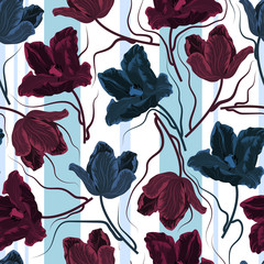 Floral seamless pattern with colorful tulips.Vector background with flowers.Textile texture