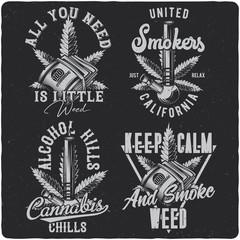 Vintage labels set with lettering composition on dark background. T-shirt design.