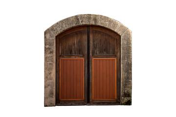 Old heavy wooden gate / door .