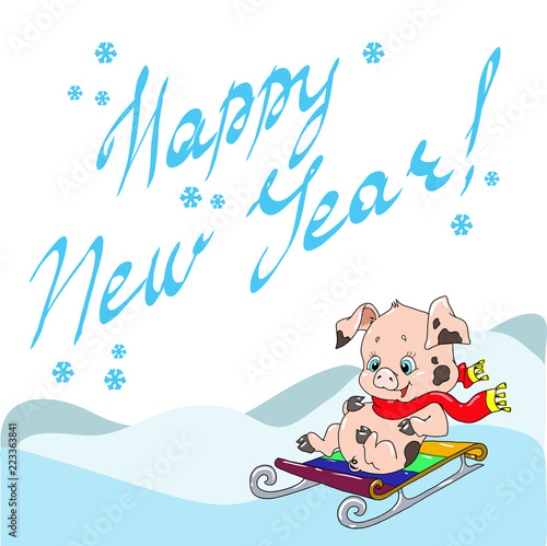 greeting card with a cute pig new years greetings chinese new year cheerful