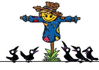 Scarecrow garden ravens amazement cartoon illustration isolated image