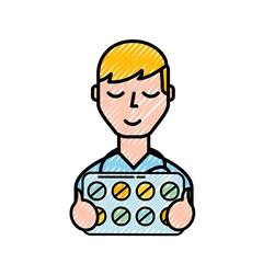 man character holding packaging pills prescription