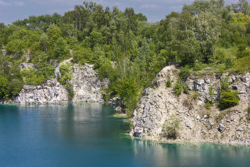 .summer landscape lake with turquoise water among rocky coasts