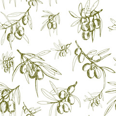 seamless pattern olives, hand-drawn olive fruits and branches