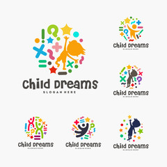 Set of Abstract Circle Child Dreams logo, Child Education logo template, Collection of  Reach Star symbol