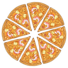 Group of vector colorful illustrations on the pizza theme; pieces of shrimp pizza. Pictures contain realistic shadows and glare.