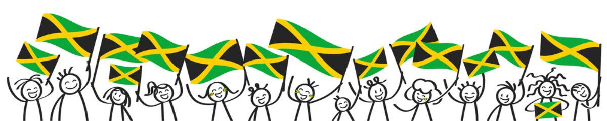 Cheering crowd of happy stick figures with Jamaican national flags, smiling Jamaica supporters, sports fans isolated on white background