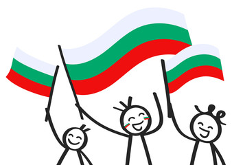 Cheering group of three happy stick figures with Bulgarian national flags, smiling Bulgaria supporters, sports fans isolated on white background