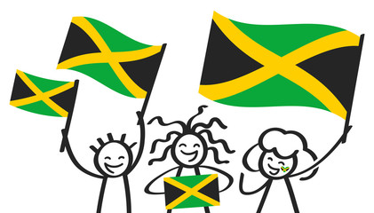 Cheering group of three happy stick figures with Jamaican national flags, smiling Jamaica supporters, sports fans isolated on white background