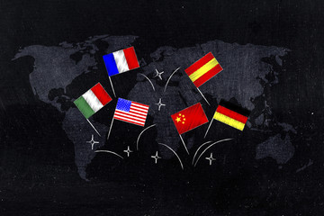 mixed flags above world map overlay