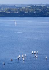 Sailboats on Llanquihue Lake, elevated view, Puerto Varas, Llanquihue Province, Los Lagos Region, Chile