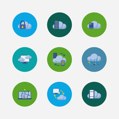 Cloud service icons set. Machine learning and cloud service icons with data storage, cloud security and image storage. Set of media for web app logo UI design.
