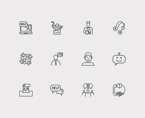 Customer service icons set. Team and customer service icons with export, survey and video. Set of discussion for web app logo UI design.