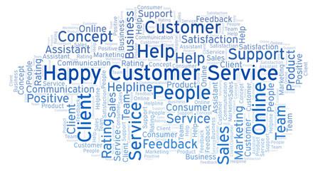 Happy Customer Service word cloud.