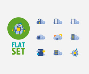 Cloud service icons set. Video storage and cloud service icons with cloud security, cloud application and artificial intelligence. Set of media for web app logo UI design.