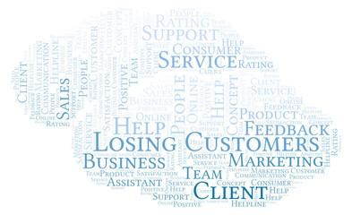 Losing Customers word cloud.
