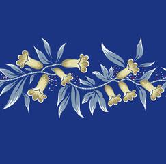 Horizontal floral border on navy