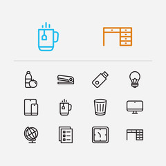 Office icons set. Globe and office icons with coffee mug, to-do list and clock. Set of fresh for web app logo UI design.