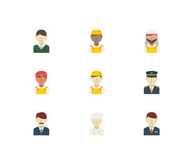 Professional icons set. White worker and professional icons with arab worker, male worker and indian worker. Set of reception for web app logo UI design.