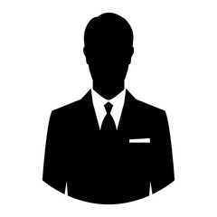 Simple, flat, black silhouette of a businessman. Isolated on white