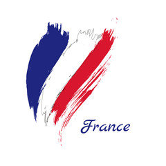 Grunge brush stroke with France national flag. Vector Isolated on white background.