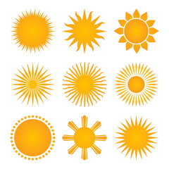 suns icon set collection, vector illustration isolated on white background