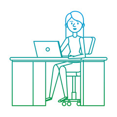 young woman at desk with laptop
