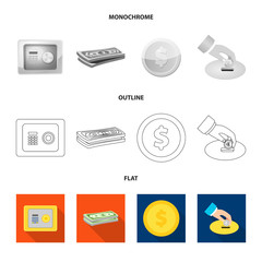 Vector illustration of bank and money sign. Set of bank and bill stock vector illustration.