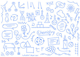 chemistry, biology symbols and shapes. colored chemistry and biology world hand drawing illustration