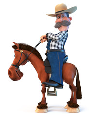 3d illustration farmer on horseback/3d illustration cowboy in a hat with a curvy mustache