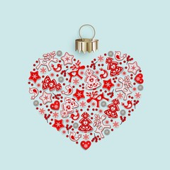 New Years heart with ornament of Christmas toys in Scandinavian style