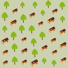 Trees and houses pattern background