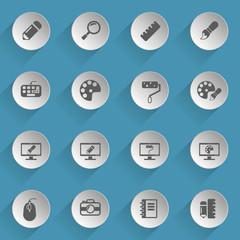 design web icons on light paper circles
