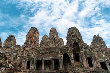 Bayon ancient temple at Ankgor Thom at Angkor Wat complex in Siem Reap Cambodia.