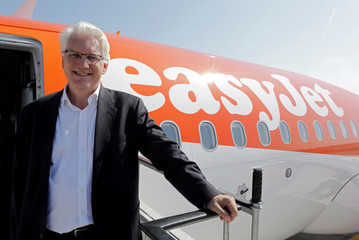 Francois Bacchetta, easyJet director general for France, poses before the inaugural flight between Nice and Tenerife, in Nice