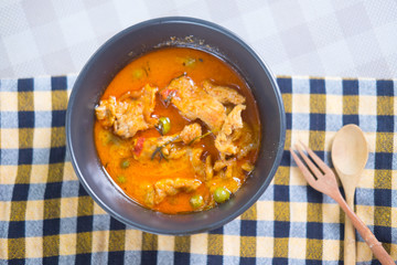 Thai red chili Panang curry with pork