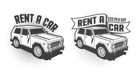Rent a car retro vintage signboard, emblem with 3d SUV. Monochrome vector illustration.