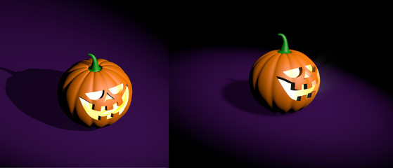 Halloween realistic funny pumpkin 3d rendered in different angles