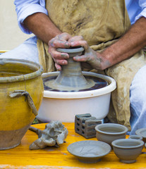Master potter working at the potter's wheel