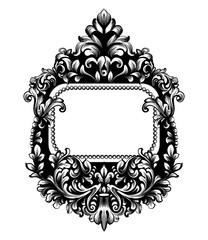 Baroque square frame Vector. French Luxury rich intricate ornaments. Victorian Royal Style mirror decors