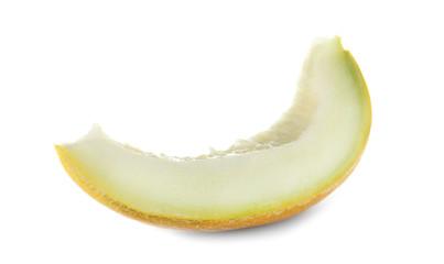 Slice of tasty ripe melon on white background