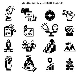 Think like an investment leader (icon concept.) Leadership in quality work.