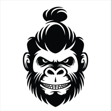 monkey hairstyle men bun illustration