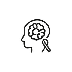 Brain cancer awareness line icon. Medical test, person, tomography. Neurology concept. Vector illustration can be used for topics like chemotherapy, tumor, diagnostic