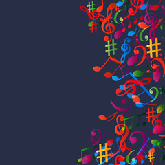 Music background with colorful music notes and G-clef vector illustration design. Artistic music festival poster, live concert, creative treble clef design
