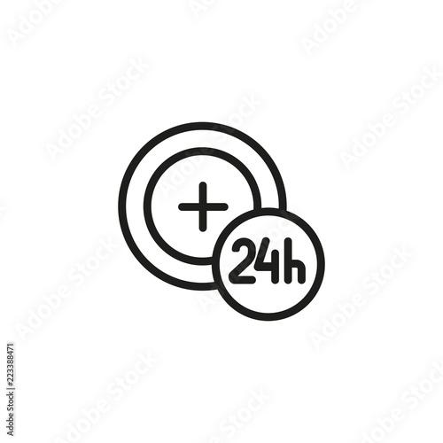 Twenty-four hours hours ambulance service line icon  Help
