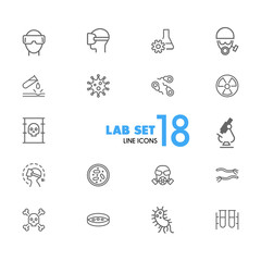 Lab icons. Set of  line icons. Radiation sign, poison, microscope. Science concept. Vector illustration can be used for topics like biology, chemistry