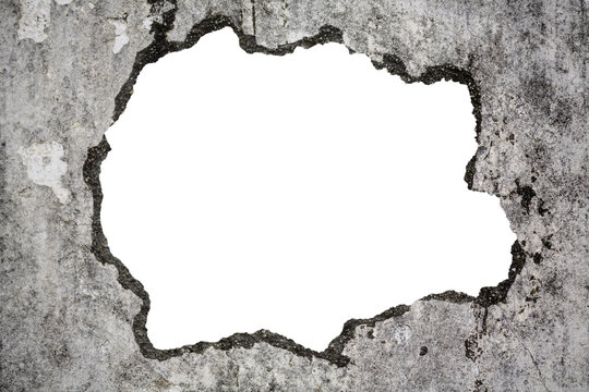 Broken old grunge wall on white with clipping path, concept of escape