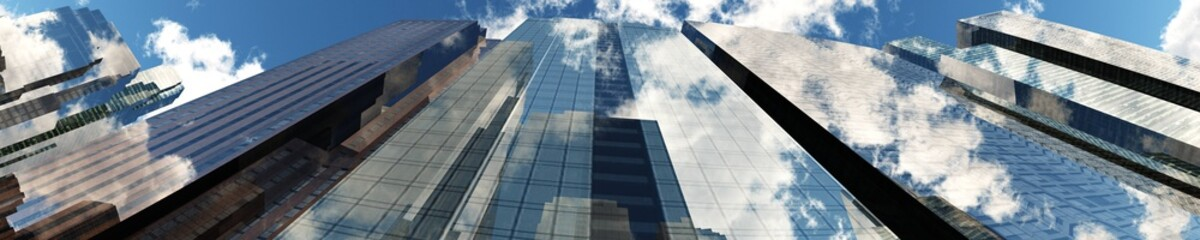 Wall Mural - Skyscrapers against the sky with clouds. Panorama of skyscrapers from below. 3d rendering