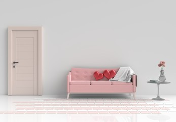 Two red hearts on pink sofa in white pastel living room decor with flower,glass table, Window, White wall& tile floor. Rooms of Love on Valentine`s Day. Background and interior. 3D render.